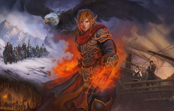 Фото обои иллюстрация к книге, корабль, снег, арт, горы, огонь, Runefell, магия, путники, поход, мужчина, птица, пещера, ...