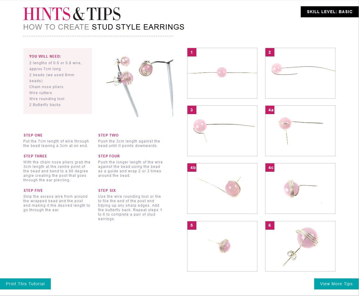 Free Jewellery Making Tutorials Stud Style Earrings Aajewelry Wiring Through Studs