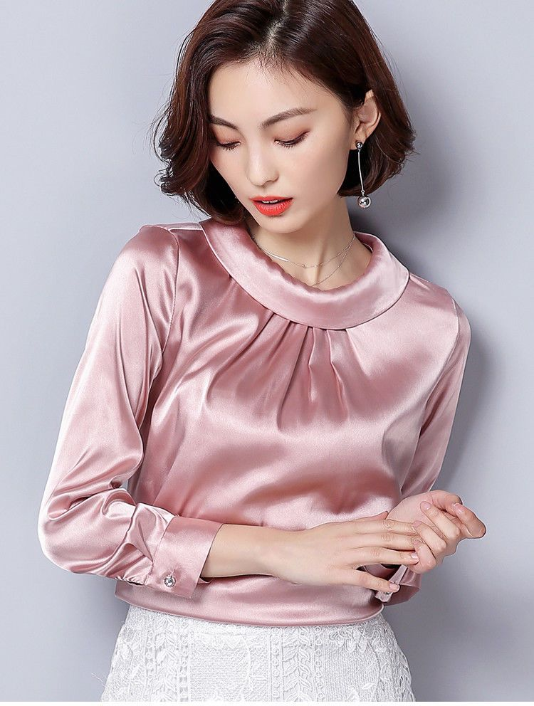 c419b48ef8cf9 Ladies Satin Silk Shirt Vintage Pleated Long Sleeve Shiny Blouse Pullover  Pink