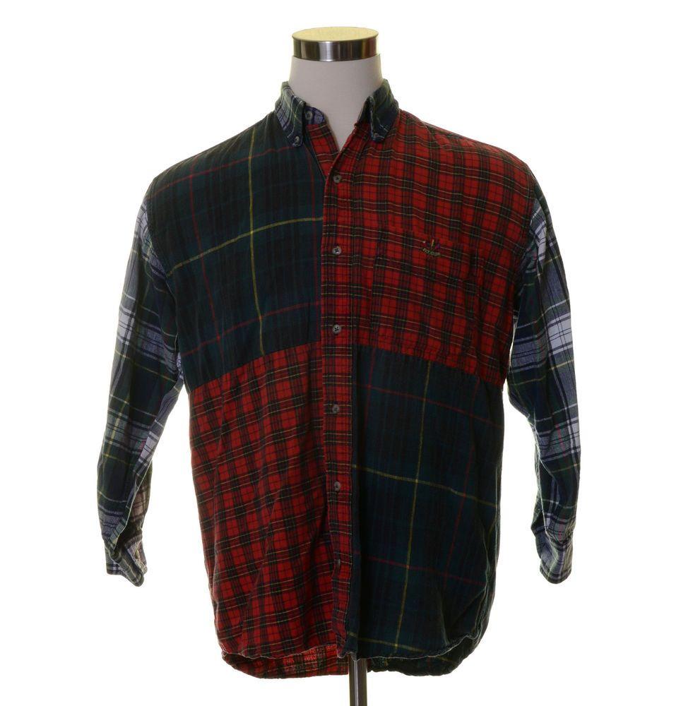 Vtg IVY CREW Dark Forest Green Red White Square Pane X-Mas Plaid Button Shirt M