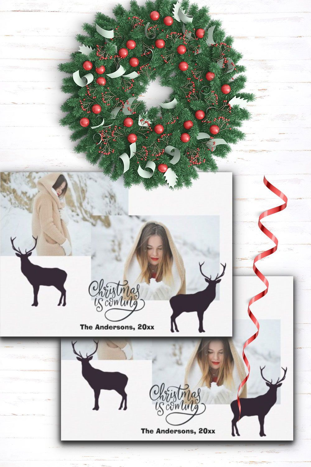 Modern Script with Photo Christmas Greetings Holiday Card