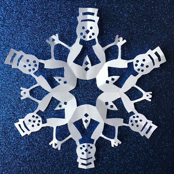 snowflake template snowman  Snowmen Paper Snowflake Pattern (PDF Digital Download ...