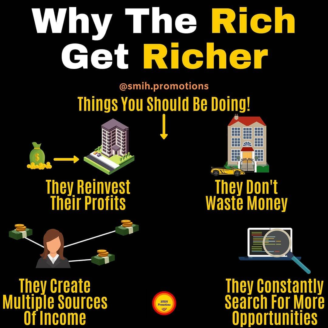 The Rich Get Richer Because They Re Money Smart Check Out My Other Business Account Busymonkey Biz Follo How To Get Rich Smart Money Income Opportunity