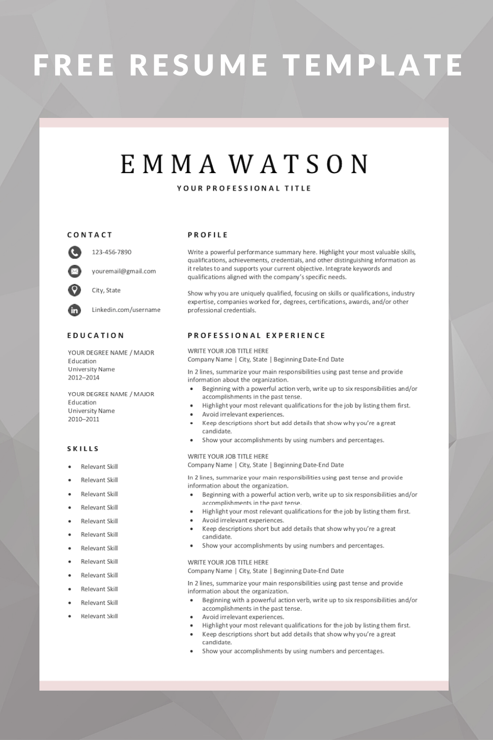 download our completely free  simple resume template