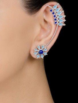 Lapis Lazuli Enamelled Silver Ear Cuffs by Devi Jaipur