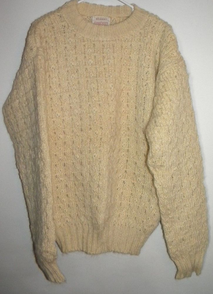 Vintage IRISH KNIT SWEATER Size Men's Large in Good Vintage Condition, Made in Ireland of 100 Percent New Wool