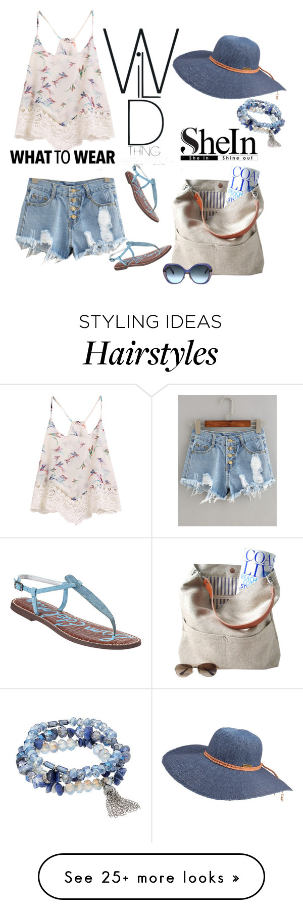 """SheIn button fly distressed denim shorts"" by lorrainekeenan on Polyvore featuring Independent Reign, Oscar de la Renta, Billabong, Sam Edelman and Simply Vera"