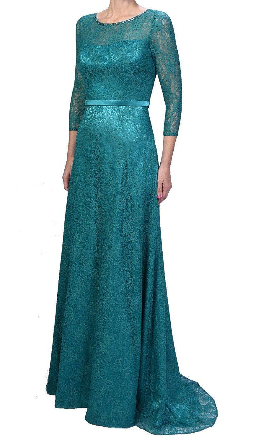 Womens Formal Elegant Bridal Long Lace Mother of the Bride Formal ...