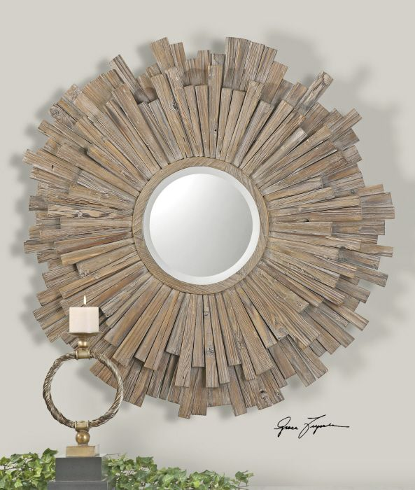 Vermundo Driftwood Round Mirror This Starburst Decorative Wall Is Reminiscent Of Rustic Clic Home Decor Wide Wood Frame With A Light Walnut