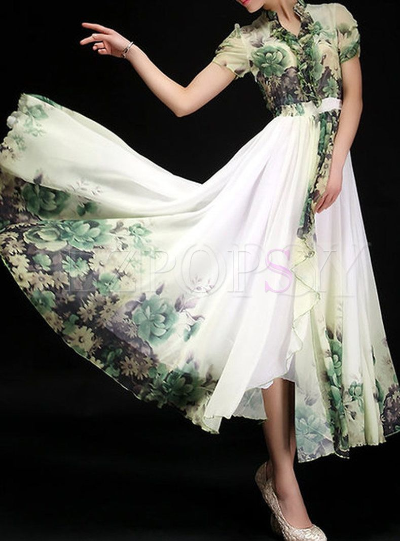 Summer short sleeve print maxi dress shops print and short sleeves