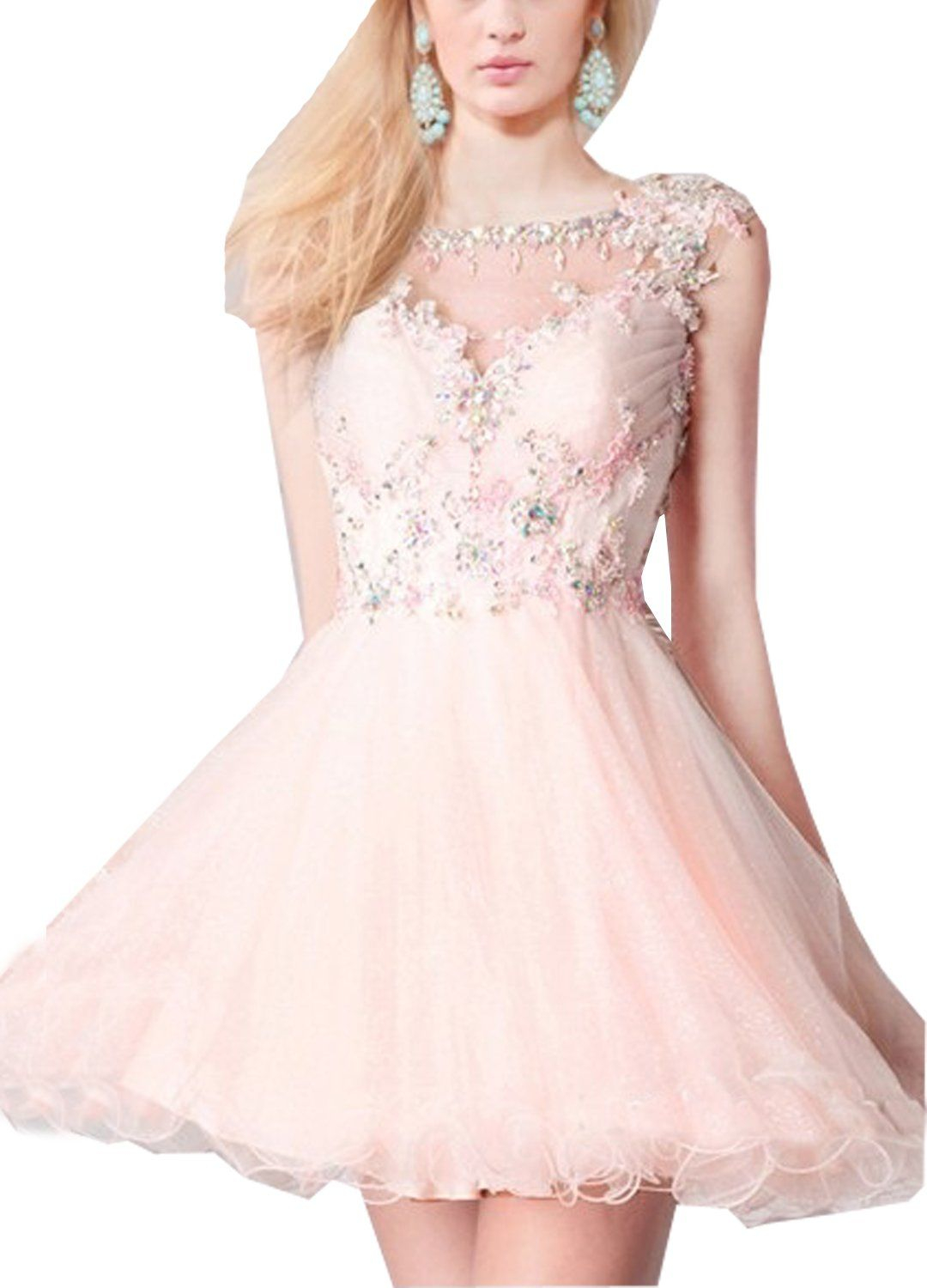Lorderqueen womenus beaded lace applique cap sleeves pink short prom