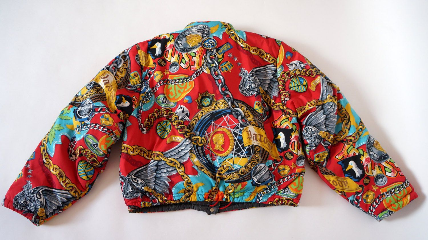 62ac1b0746b Kenzo Jungle vintage print bomber jacket chain eagle lion coin print RARE  item size M by PandoraFashion on Etsy