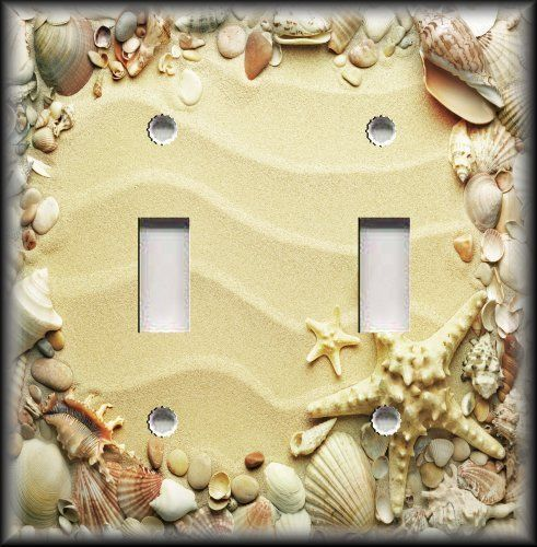 Metal Light Switch Plate Cover - Beach Home Decor Sand Shells And ...