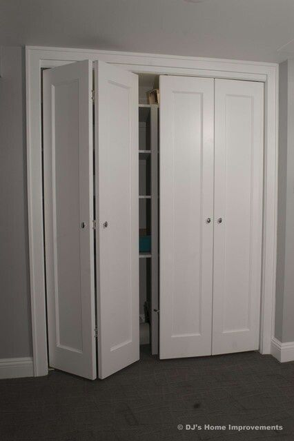 Superb Simple Shaker Style Bi Fold Closet Doors For Laundry Closet Off Hallway