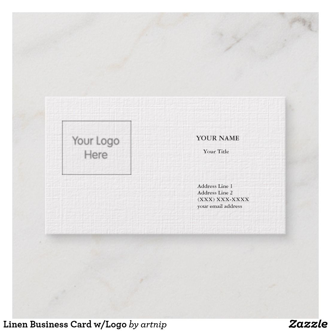 Linen Business Card Wlogo Pinterest