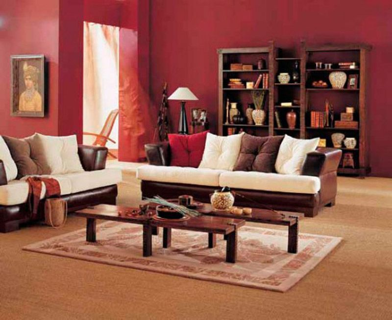 Living Room Comfortable Warm Decorating Ideas With Red Walls And Wooden Furniture Wall Art Sisal