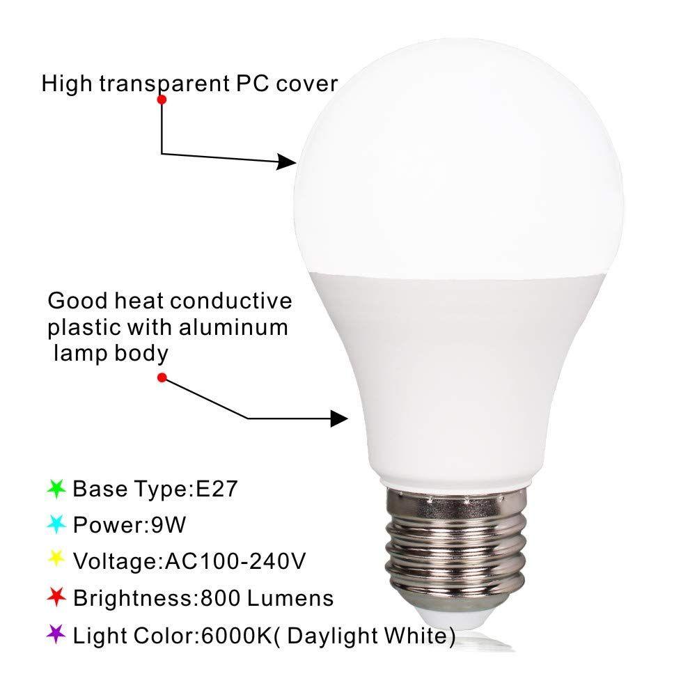 Kapata Radar Motion Sensor Led Light Bulb 9w 120v E26 Base 6000k Daylight White 80w Halogen Equivalent 2pack Have A Look At Th In 2020 Light Bulb Led Light Bulb Bulb