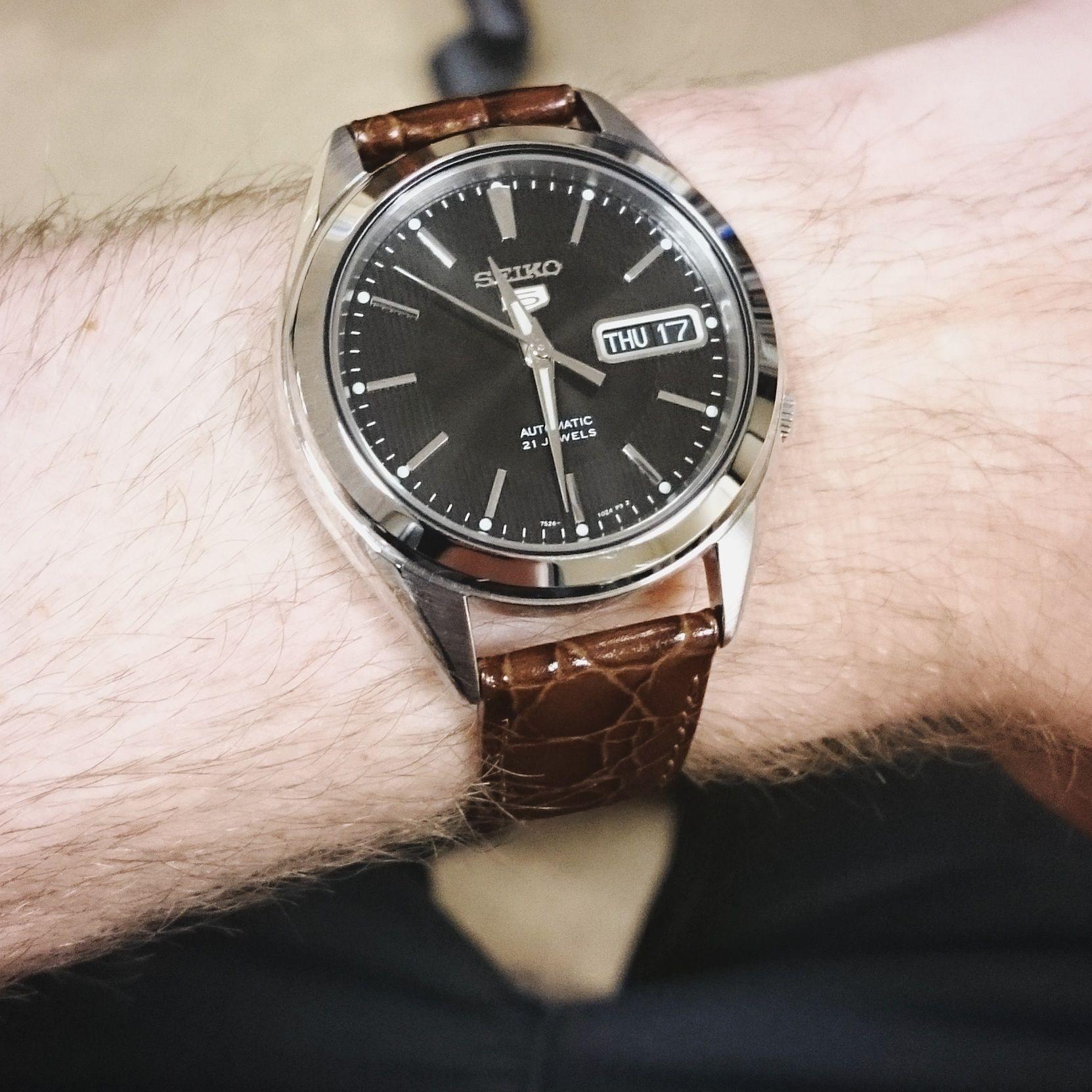 Seiko 5 Snkl23 W Hirsch Brown Crocograin Strap Watches Seiko