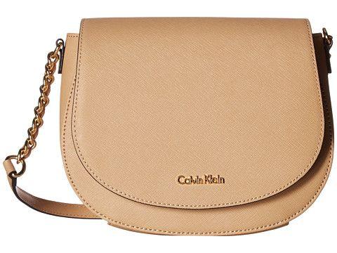 Calvin Klein Key Items Saffiano Saddle Bag Bags Saddle Bags Leather Bucket Bag