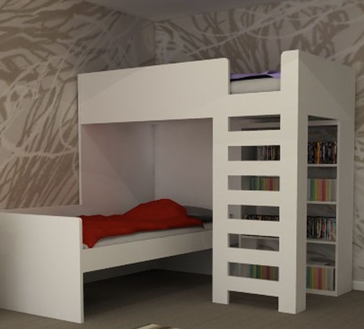 King Single L Shape Bunk With Book Shelf Add Drawers