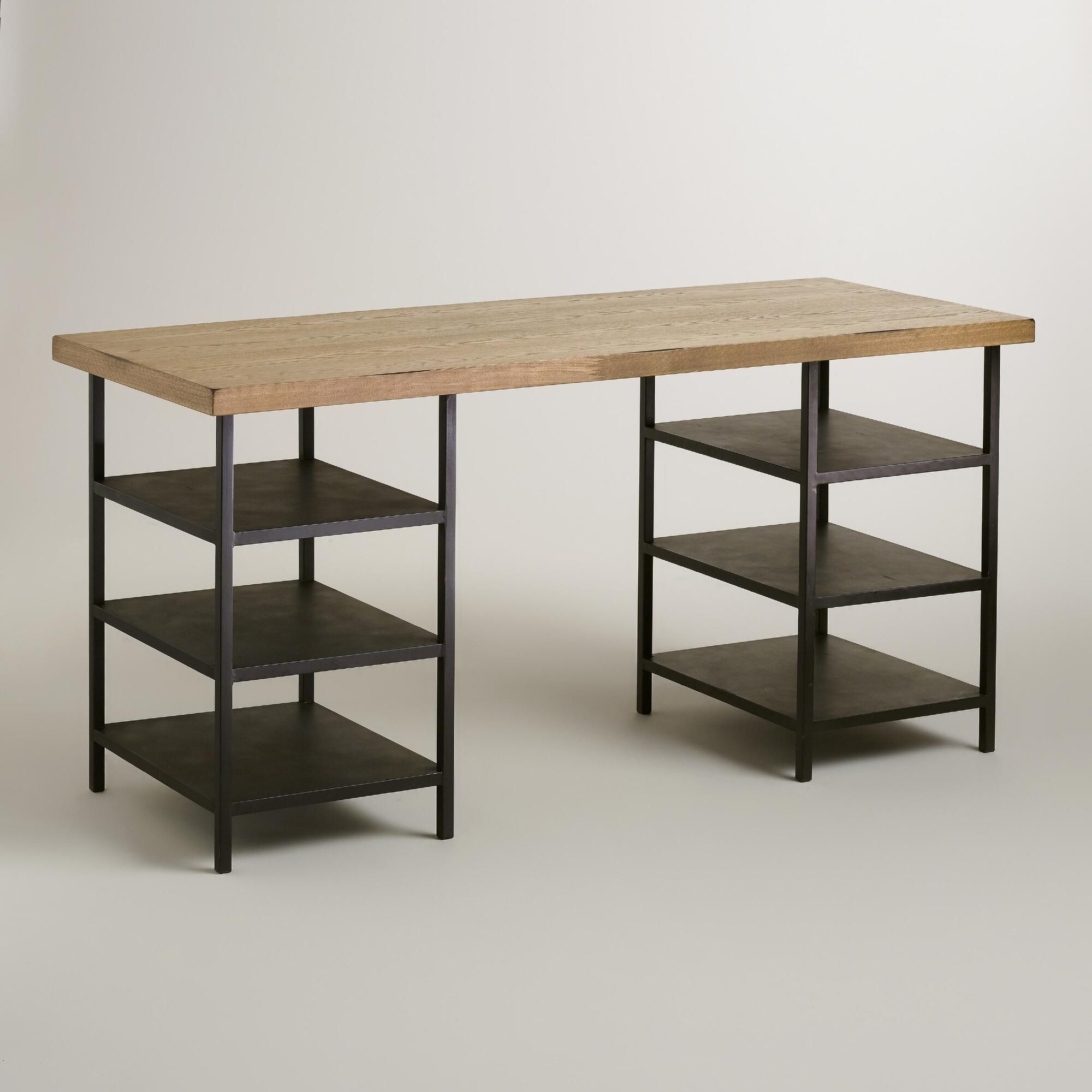 A lightly distressed wood top and three tier shelf base combine for a traditional workstation with storage worldmarket home office