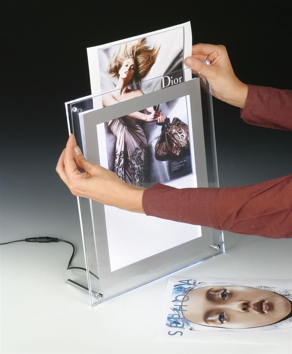 8 5 X 11 Acrylic Sign Holder For Tabletop Or Wall Mount Use Led Illuminated Clear Acrylic Sign Frame Display Sign Holder