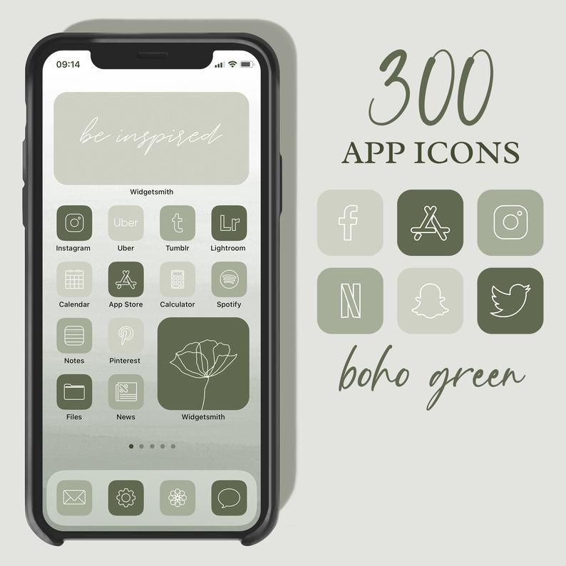 Press down on any app icon to save to your phone's photo gallery; Green App Icons, Neutral Green Aesthetic Boho iPhone ...