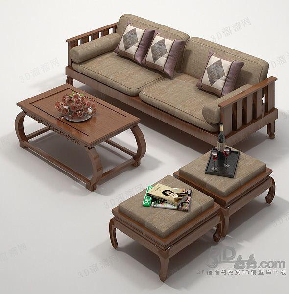 中式 沙发茶几组合3d模型 113607 Wooden Sofa Designs Wooden