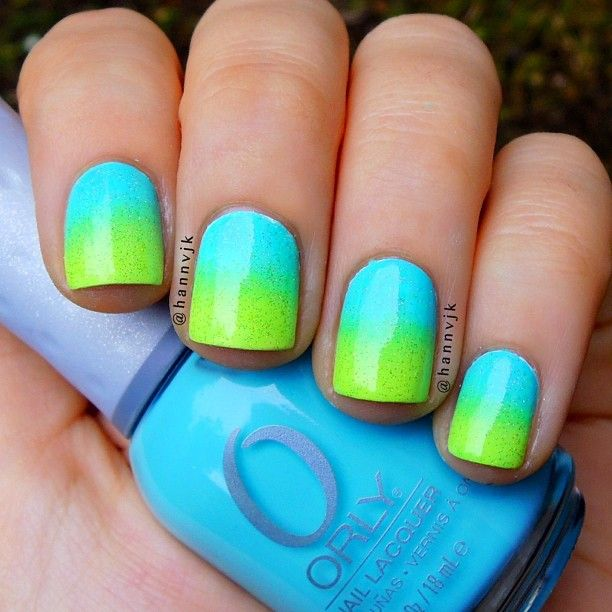 Aqua And Lime Green Ombre Nails Shout Out To Summer Green Nails