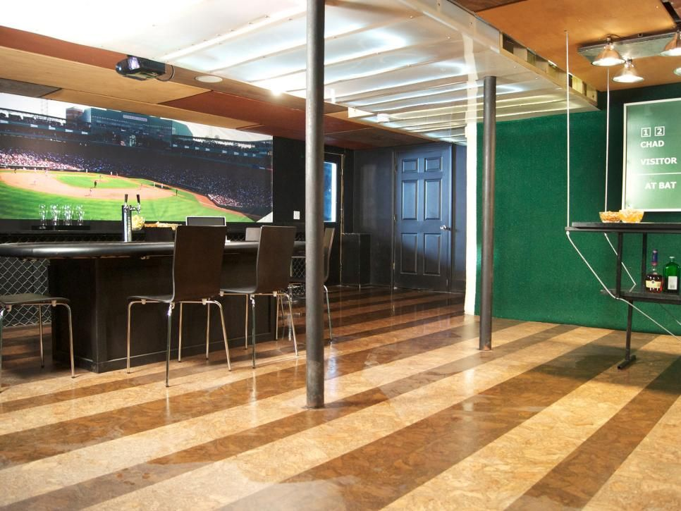 This Game Room Is A Baseball Lovers Dream With Huge Projected Screen Large