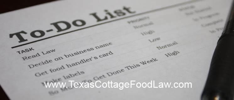 Here is a checklist to set up your cottage foods production in Texas