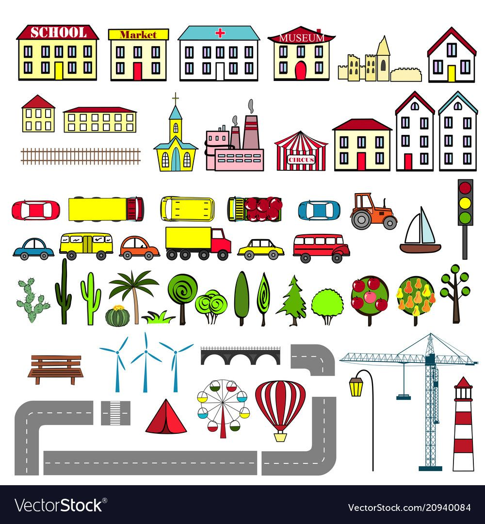 Set of kids city map elements vector image on VectorStock