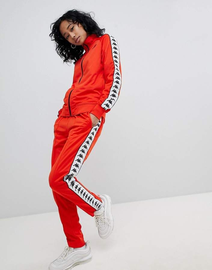 kappa slim tracksuit bottom coord with logo taping cozy