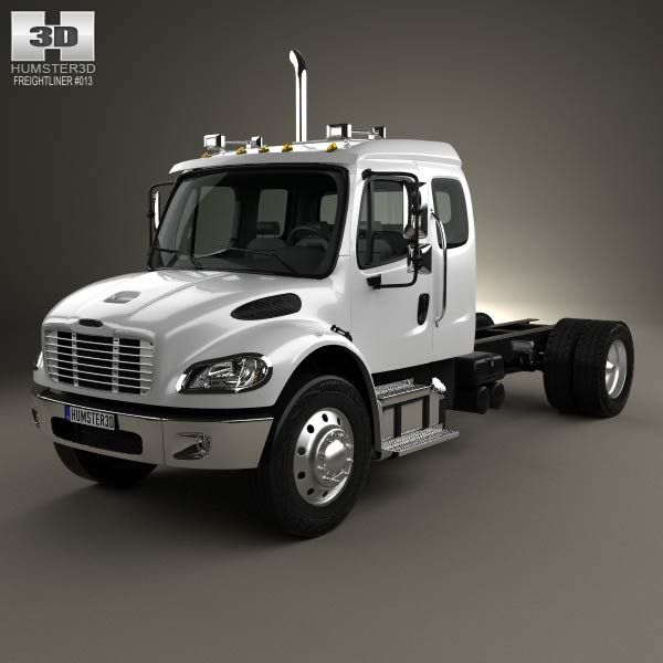 3d Model Of Freightliner M2 Extended Cab Chassis Truck 2014 Freightliner Extended Cab Freightliner Trucks