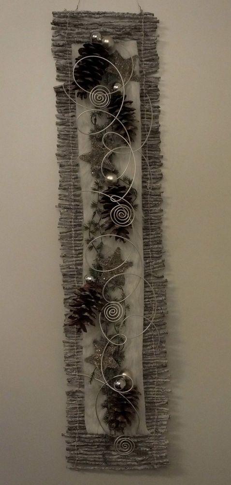T rkranz t rschmuck wandbehang winter weihnachten wei silber kranz pinterest - Wandschmuck silber ...