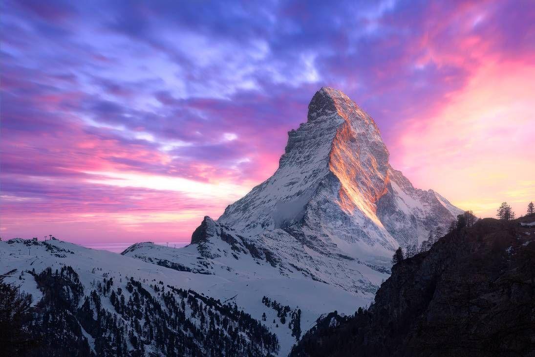 Matterhorn Sunset By Https Www Deviantart Com Thechosenpesssimist On Deviantart Mountain Landscape Photography Sunset Landscape Landscape Photography Nature