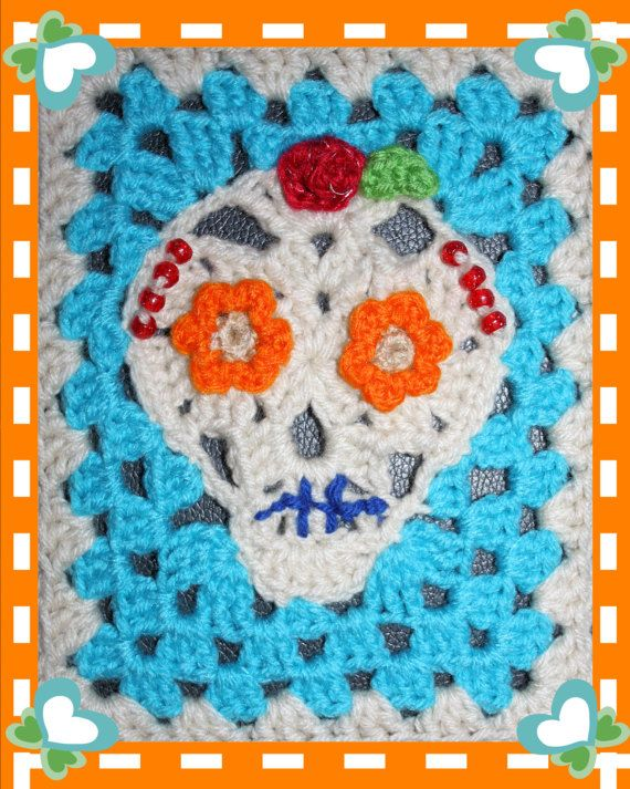 Crochet Skull Applique & Granny Rectangle Crochet Pattern PDF