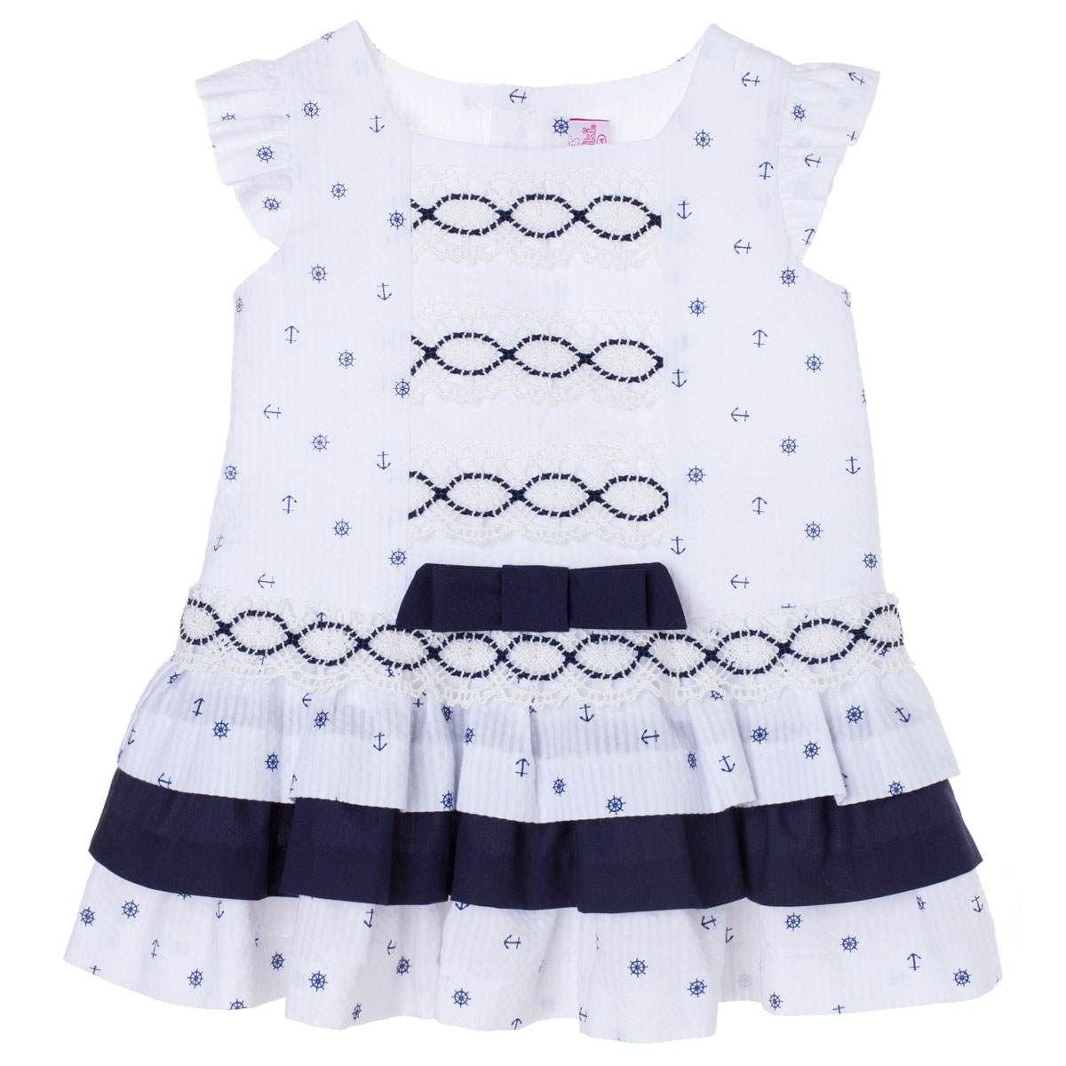 a5abeba57 Vestido Deisy Vestido de bebé niña con talle bajo y volantes en su falda.