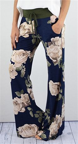 177e0e542559e Drawstring High Waisted Floral Palazzo Pants in 2019 | Cute Outfits ...
