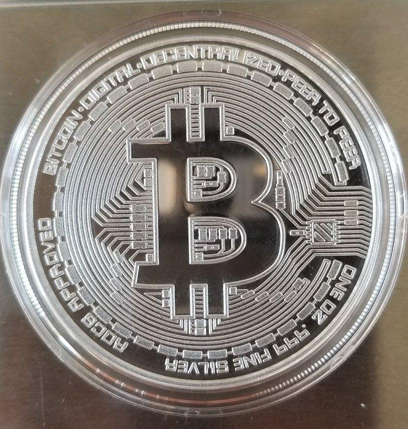 Bitcoin 1 oz .999 fine Solid silver commemorative NEW Value conversion QR code