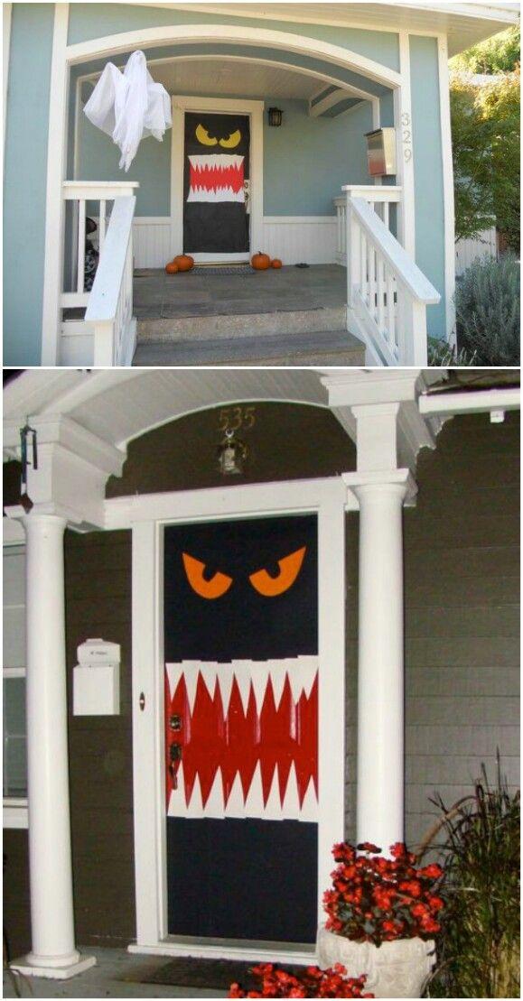 30 Monster Doors And Monster Wreaths To Greet Trick Or Treaters This Halloween Halloween Door Decorations Halloween Front Doors Diy Halloween Decorations