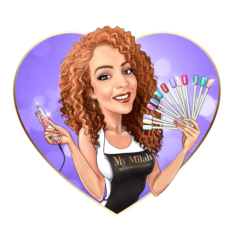 Nail Artist Logo Design custom cartoon portrait for your