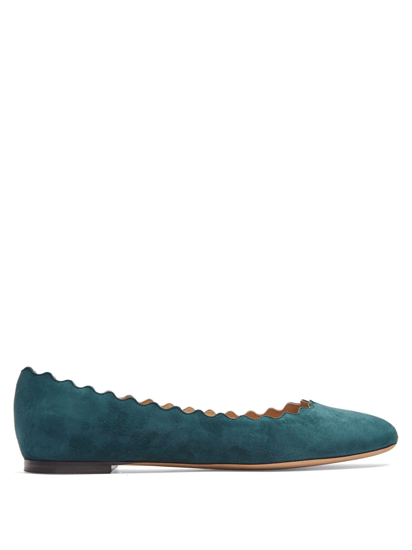 Chloé | Womenswear | Shop Online at MATCHESFASHION.COM UK. Green SuedeTeal  GreenSuede FlatsScalloped ...