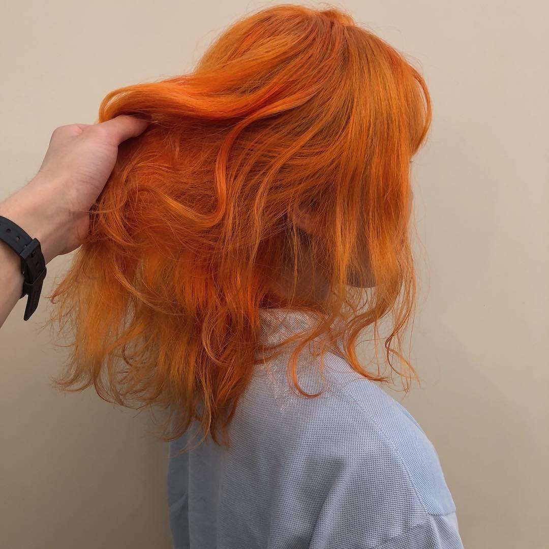 カッパーオレンジ 太陽みたいに輝くオレンジヘアカラー ファッションの一部としてオレンジヘアを落とし込むのもとても可愛いと思います ご予約プロフィールのurlかインスタのdmで可能です お気軽にご連絡ください One Coler 2000円 オレンジ