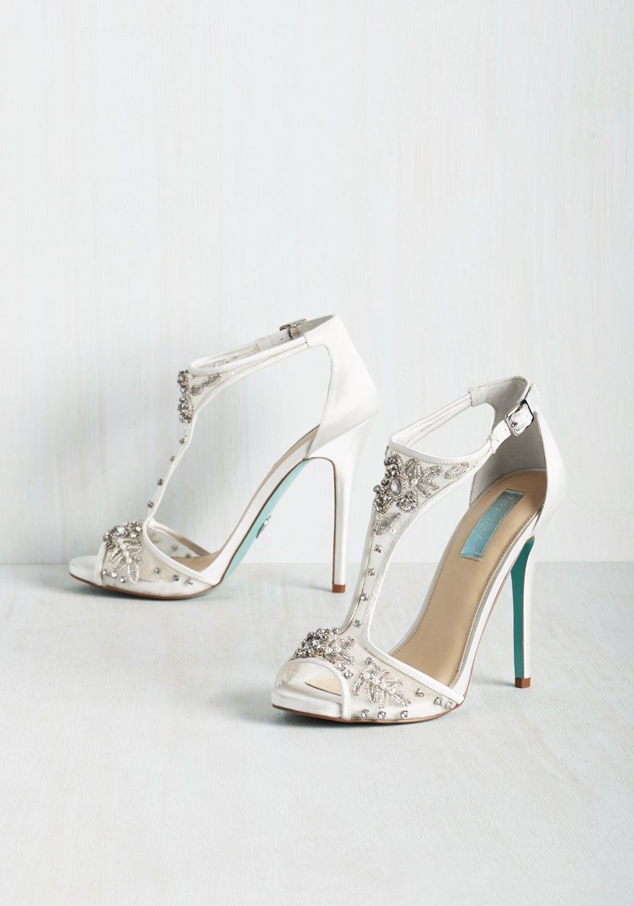 Aisle Be Seeing You Heel. When you get ahold of these white satin heels by Betsey Johnson, youll want to wear them right away. #wedding #bride #modcloth