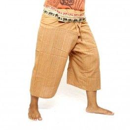 Pantalons de pêcheur thaï 3/4 coton - kaki-