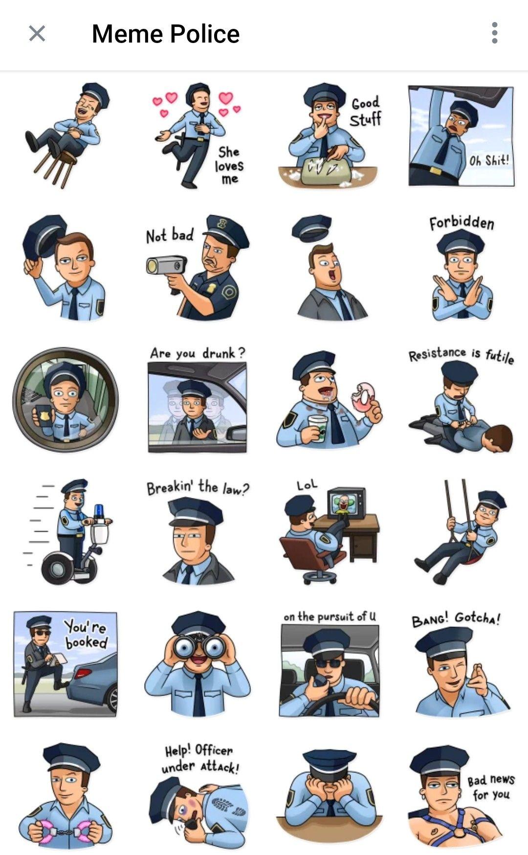 Meme Police Telegram Sticker Pack Telegram Stickers Police Stickers Stickers Packs
