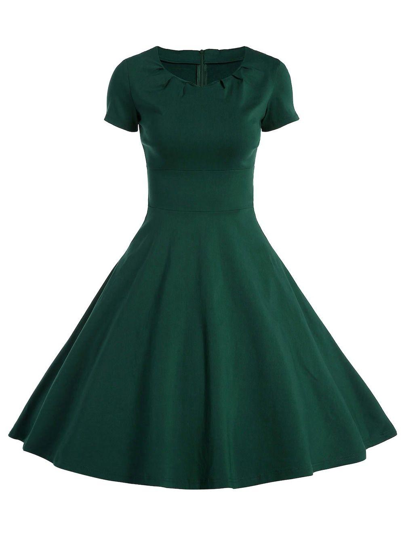 A Line Short Sleeve Vintage Dress Vintage Dresses Dresses Vintage Green Dress