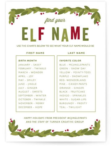 Elf Name Business Holiday Cards in 2020 Christmas elf