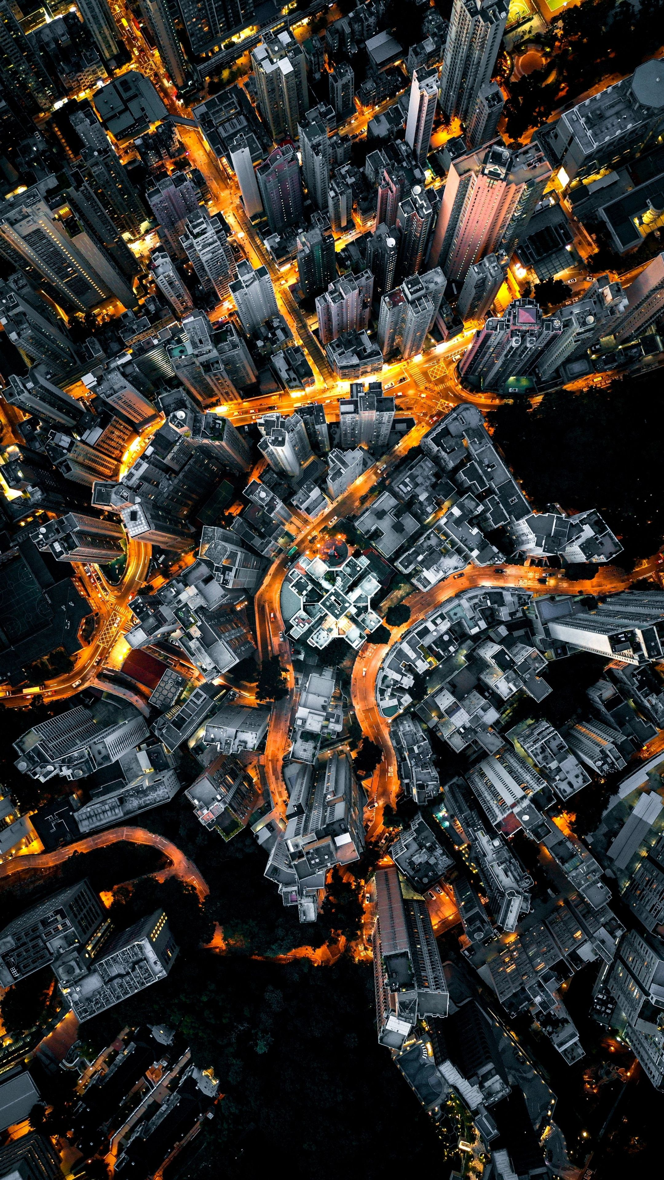 2160x3840 Night, aerial view, yellow lights of road, city